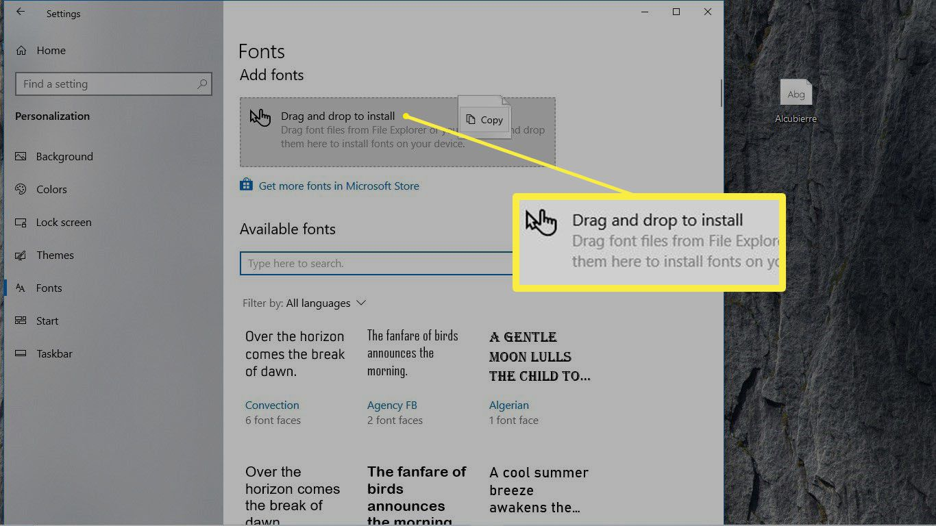 A highlighted area in the Fonts preference pane of where to drag and drop a fonts file in Windows 10.