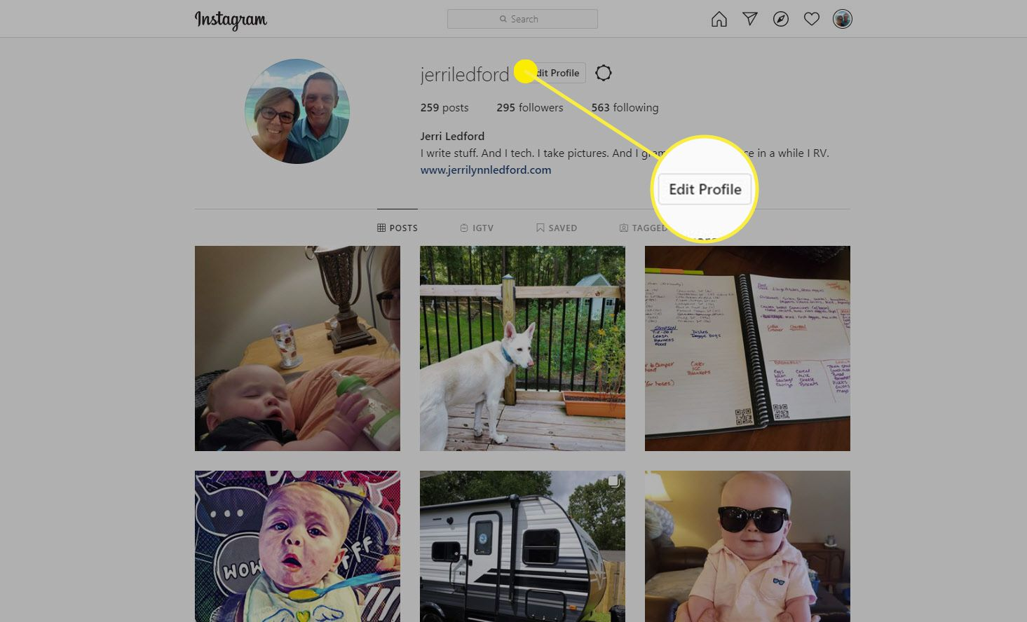 The Edit Profile option on Instagram for the web.