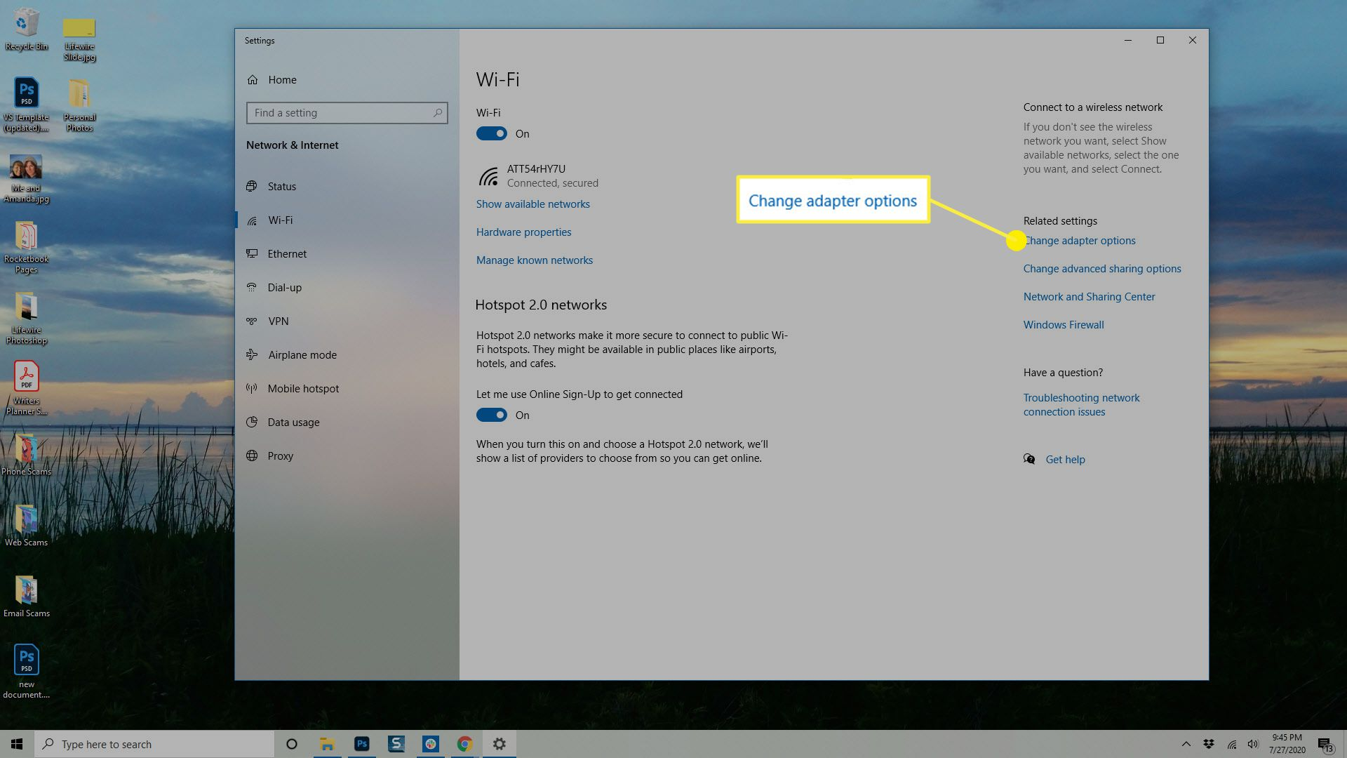 The Change Adapter options in Windows.