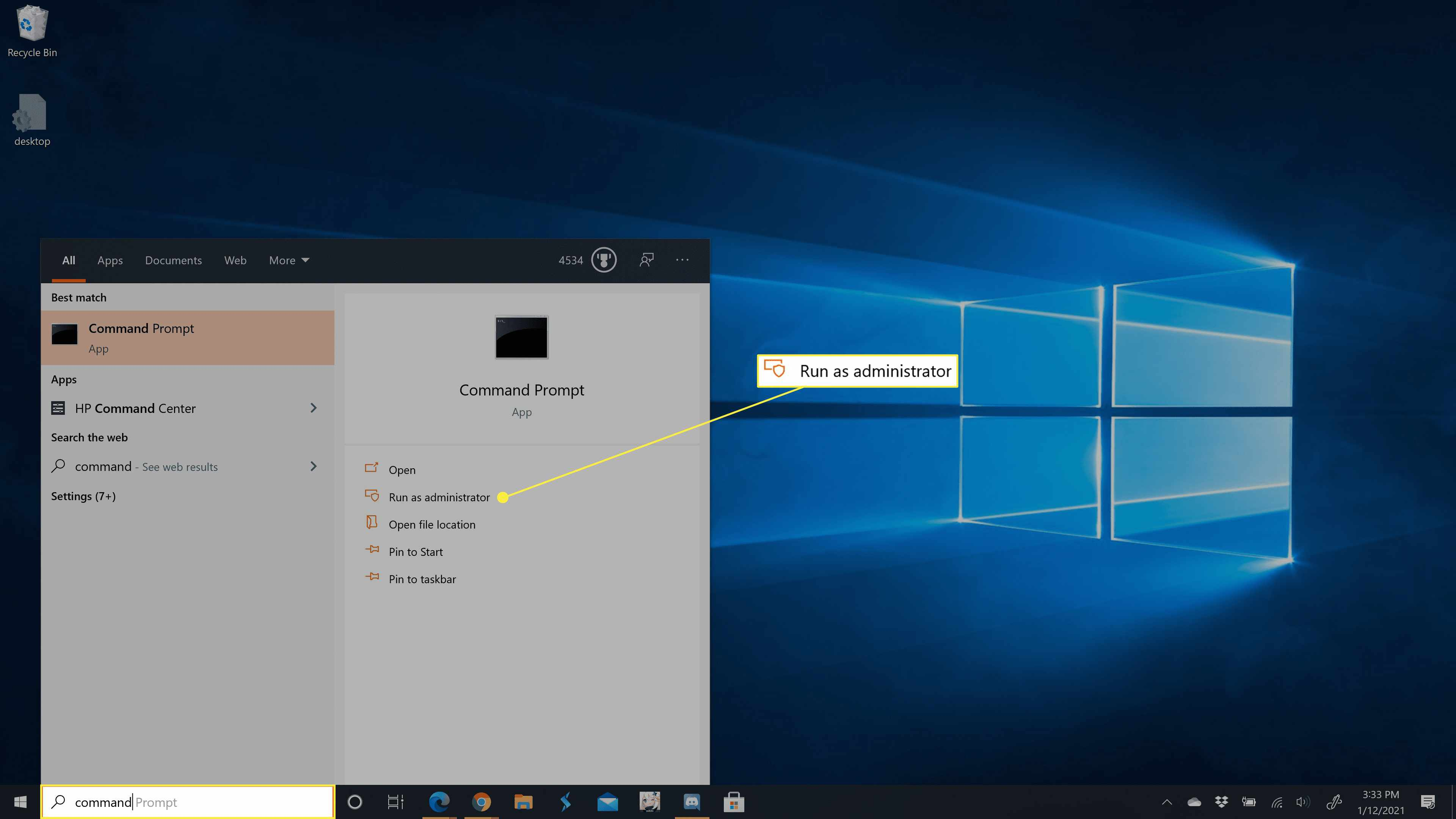 Command prompt in the Windows 10 taskbar search results.