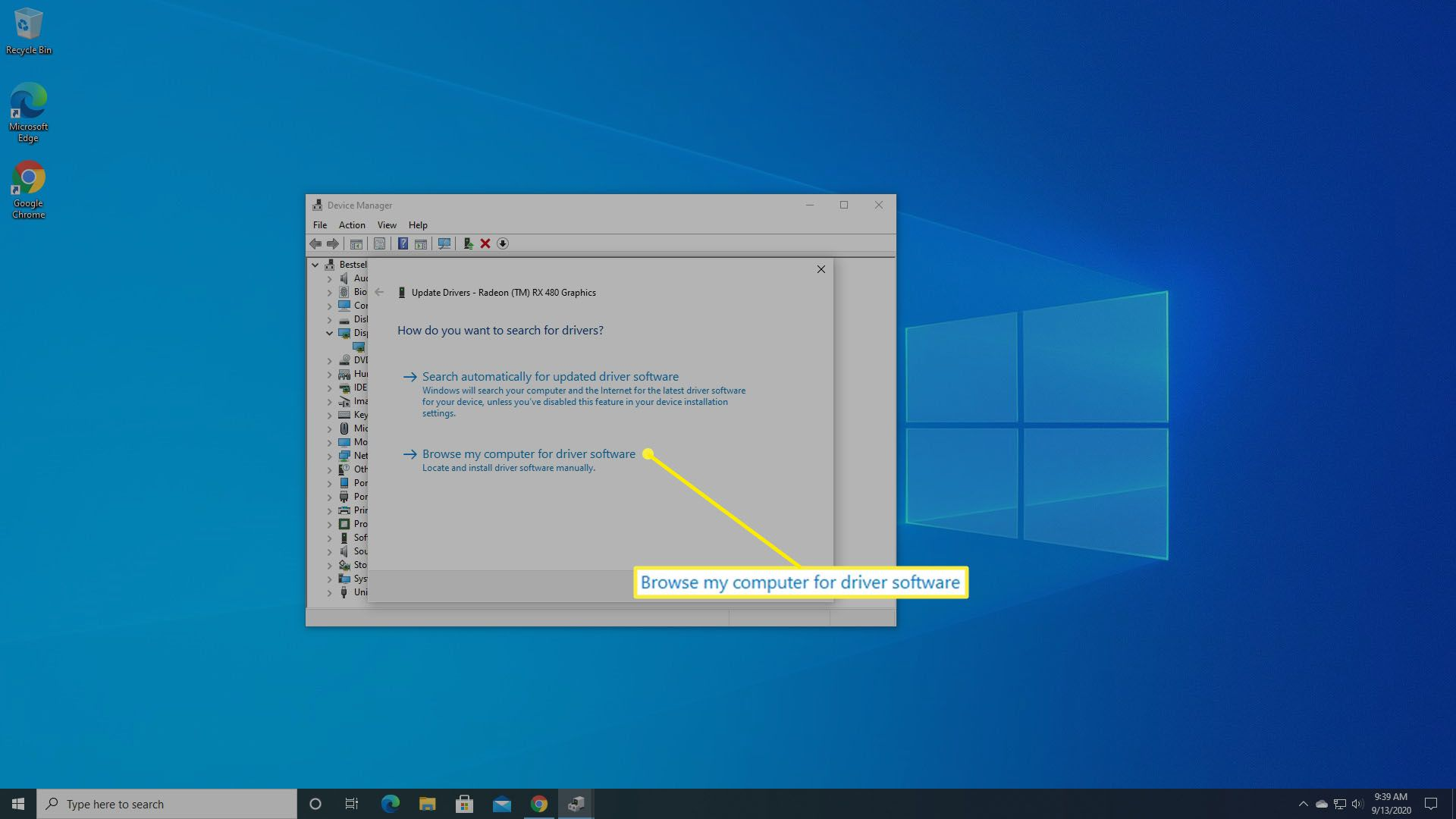Ask Windows to browse your computer for drivers