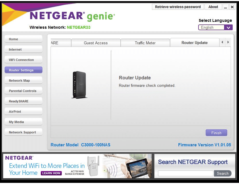 Screenshot showing how to update a NETGEAR router