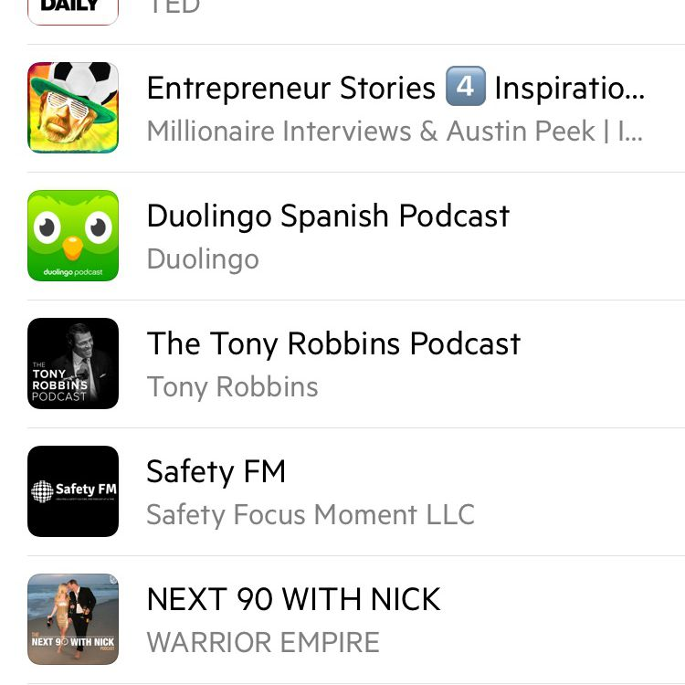 Castro Podcast app with Education tab open