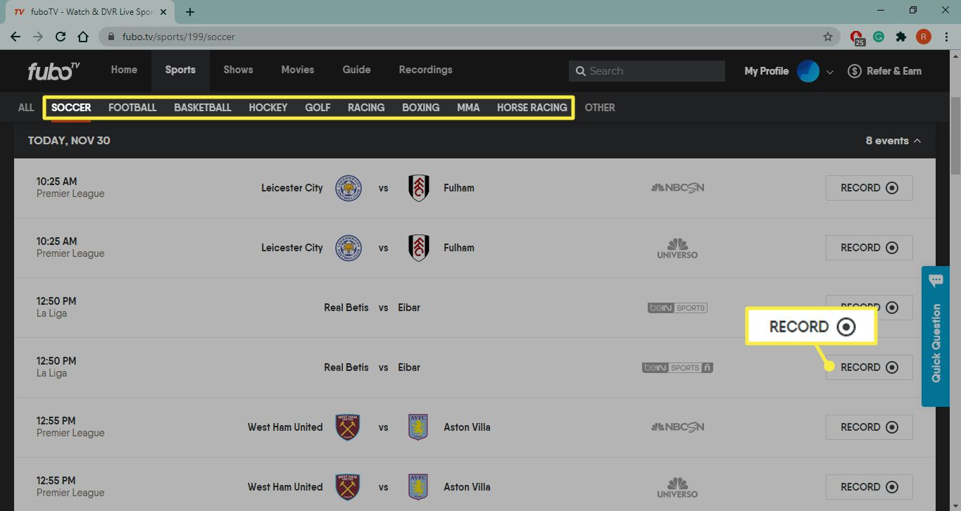 Sports categories and Record on fubo.tv