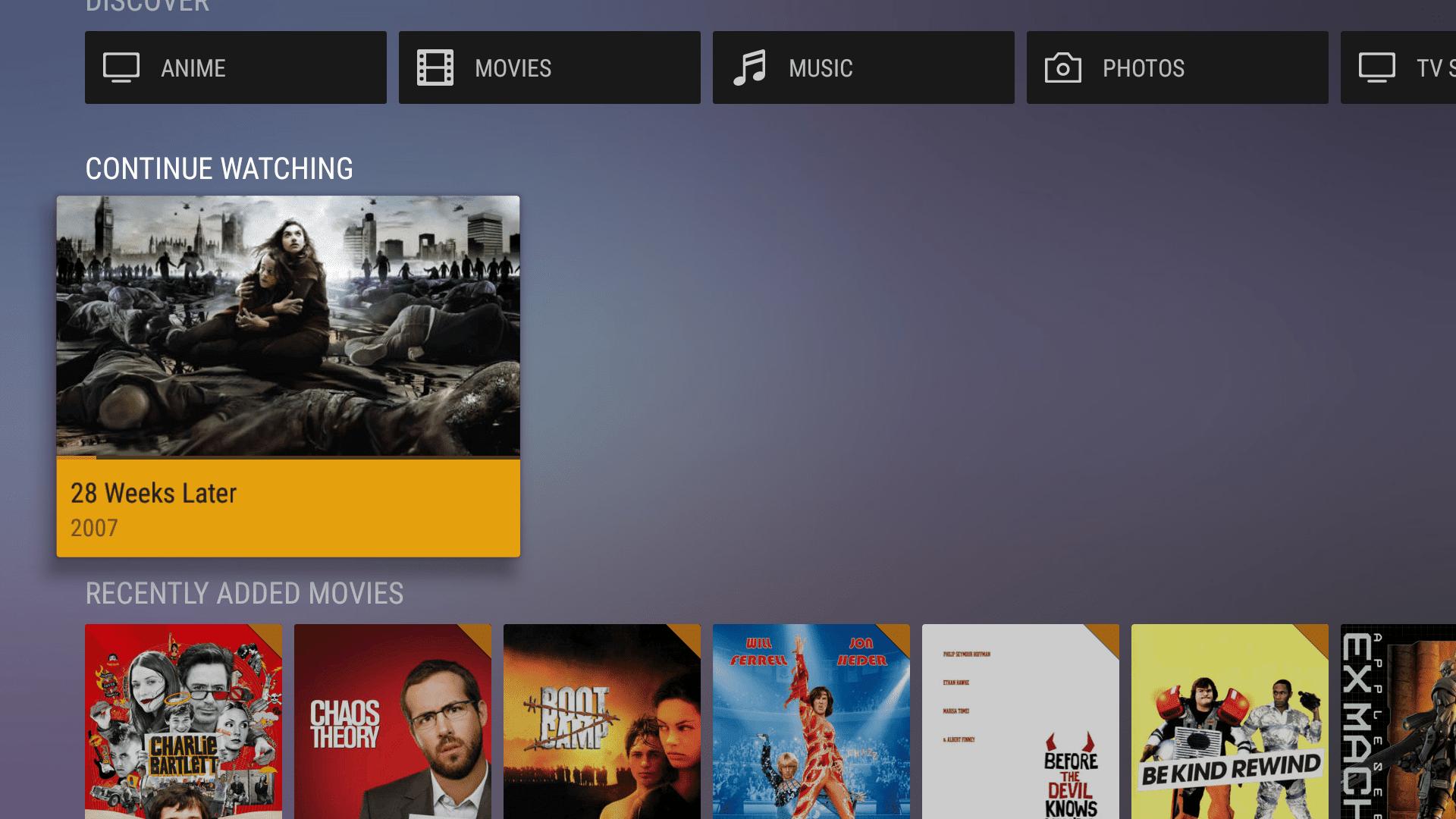Plex app on Fire TV.