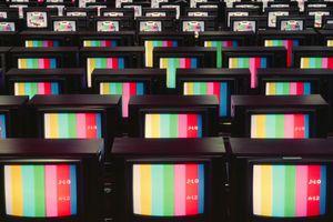 Color analog television sets showing color stripes