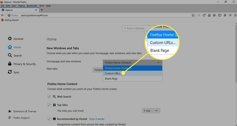 The Custom URLs option under Homepage and New Windows