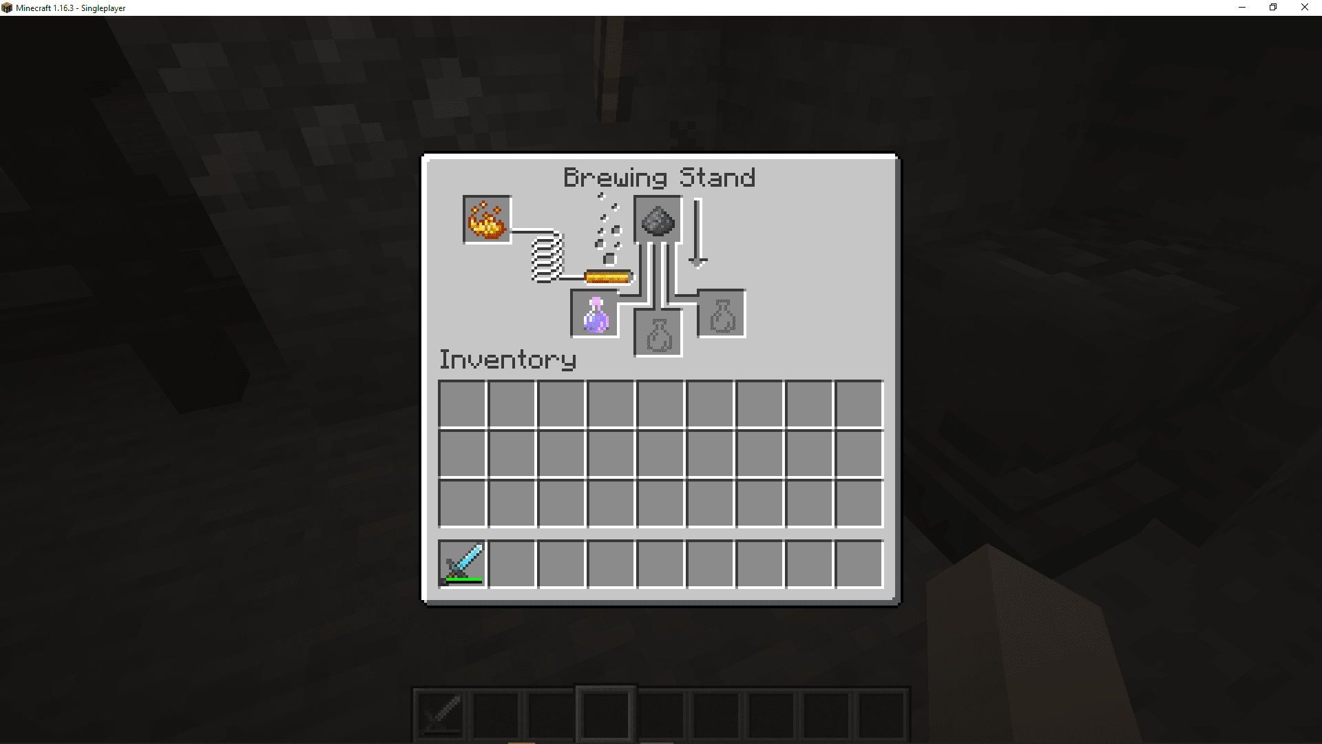 A screenshot of brewing a throwing luck potion