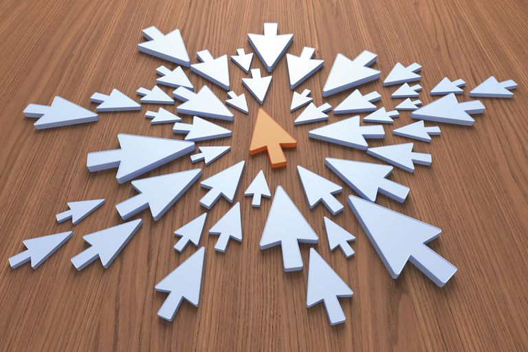 Centered arrows converging on a single arrow