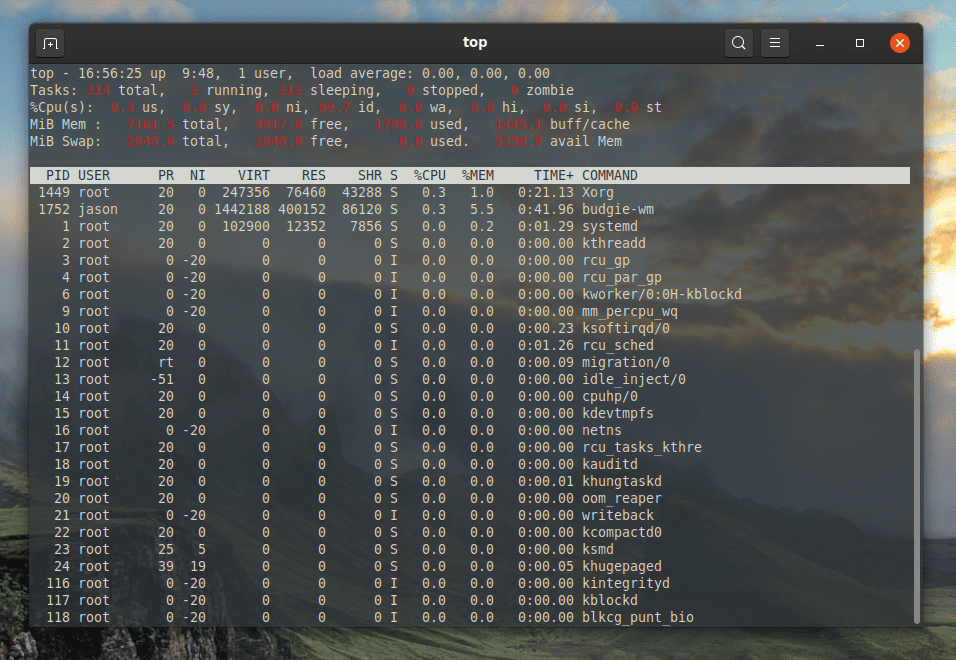 linux top command