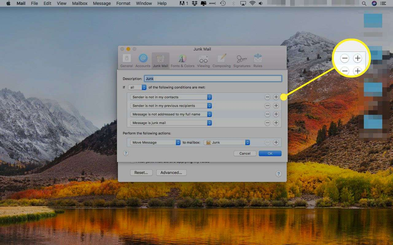 Junk Mail advanced options in Apple Mail with the plus and minus buttons highlighted