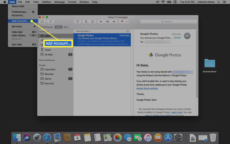 Add account option in Mac Mail
