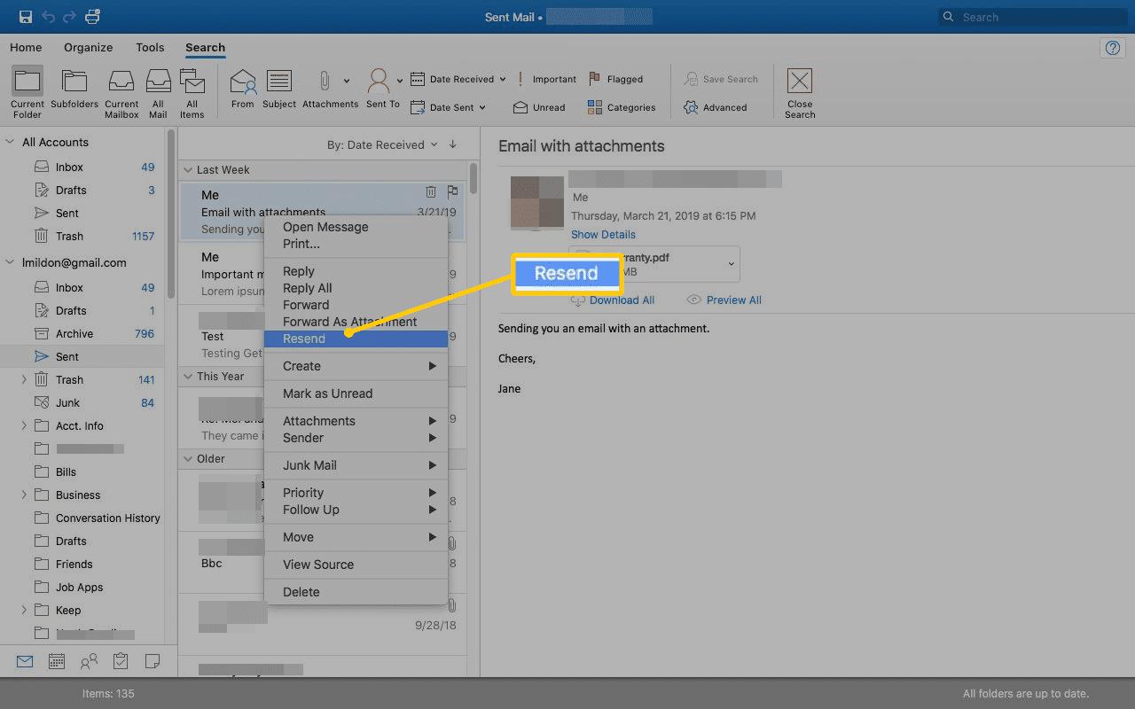 Resend menu item in Outlook for Mac