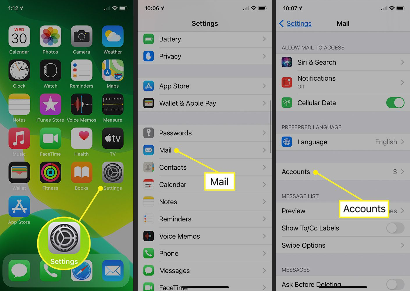 iPhone showing path to mail accounts in iOS 14