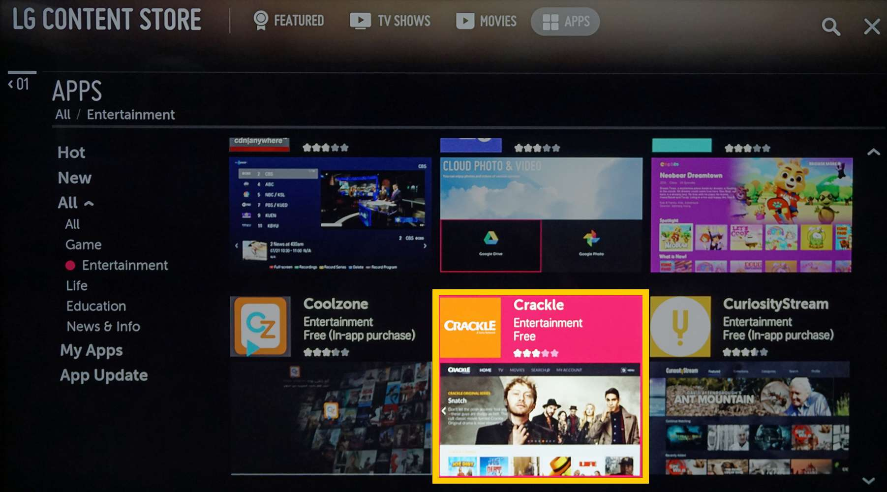 LG Content Store with the Crackle app selected