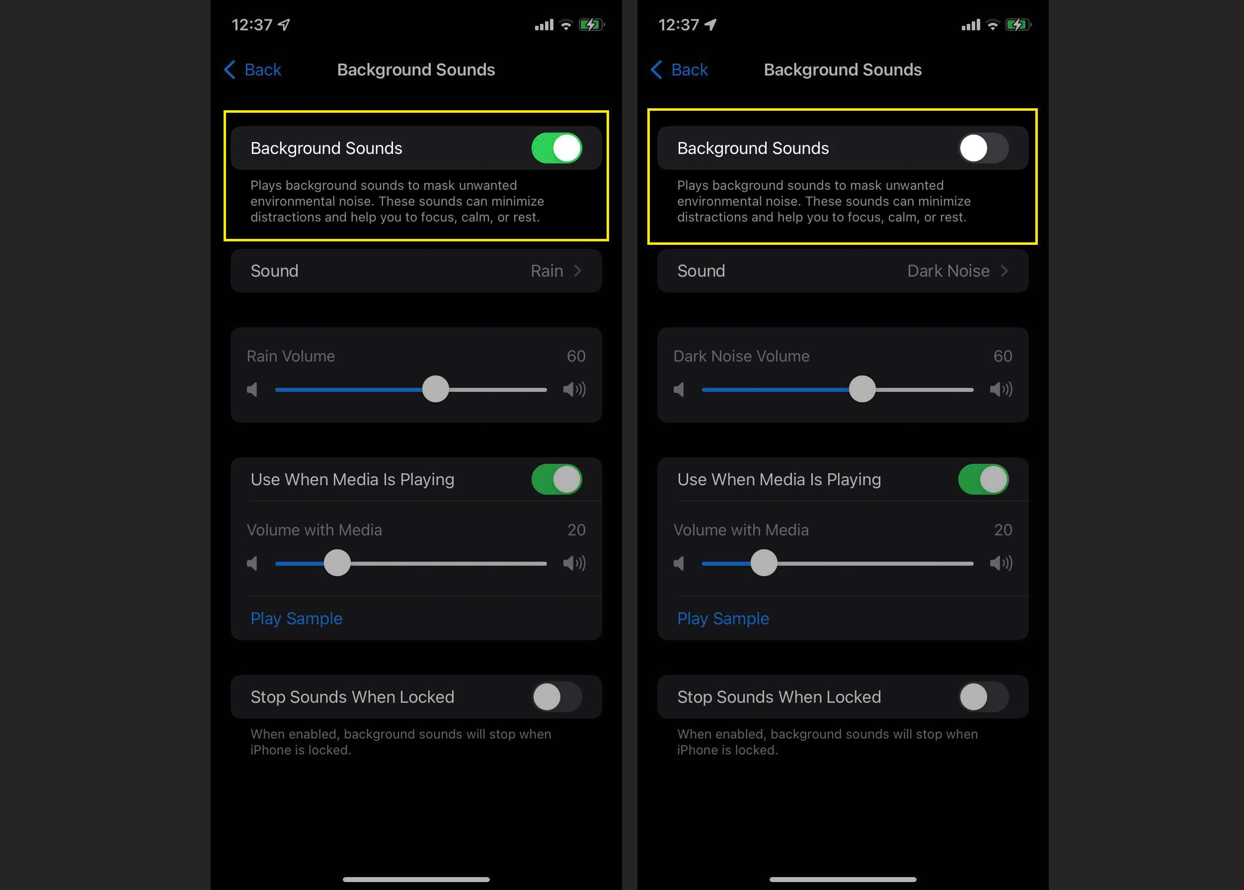 iOS 15 AudioVisual settings on iPhone with Background Sounds toggled on and off highlighted