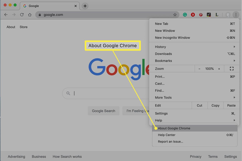 Google Chrome browser menu