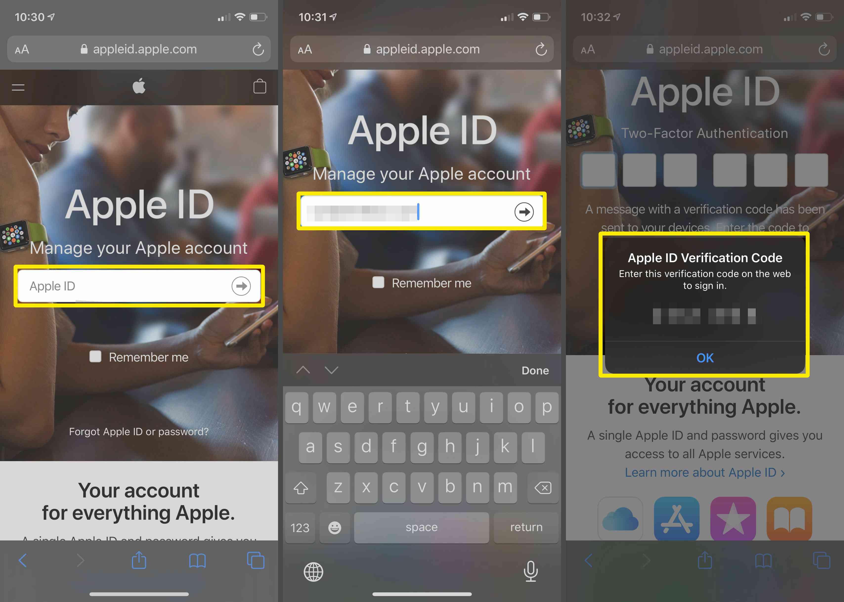 Obtaining an Apple ID verification code.