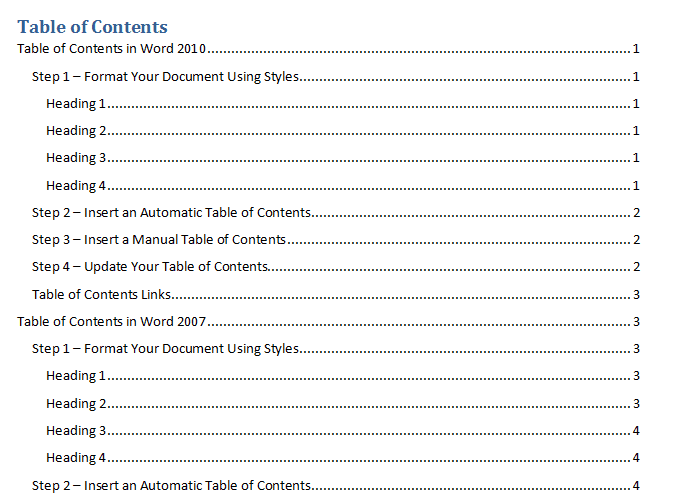 Introduction to Table of Contents