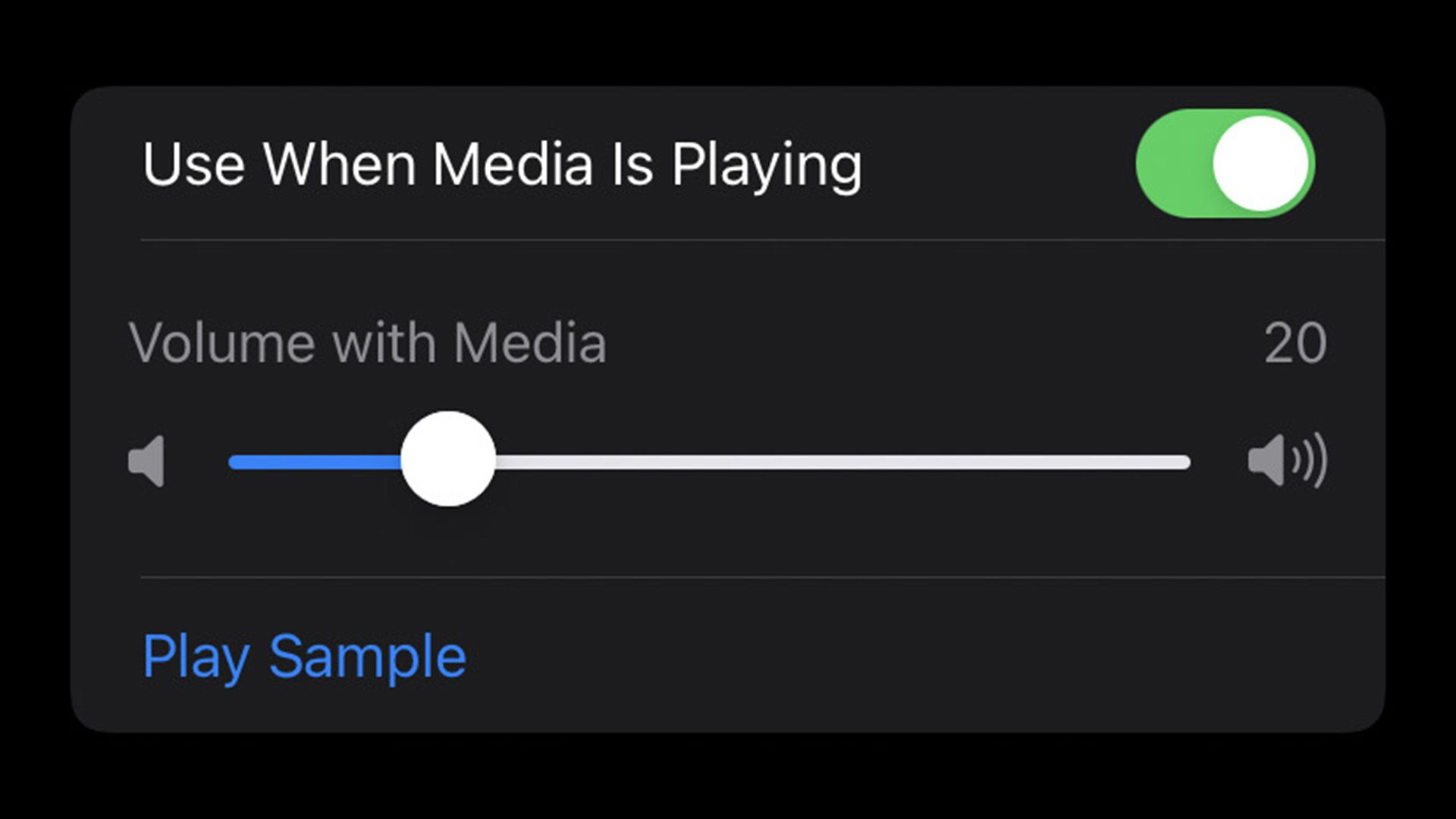 Volume slider for using Background Sounds with media in iOS 15