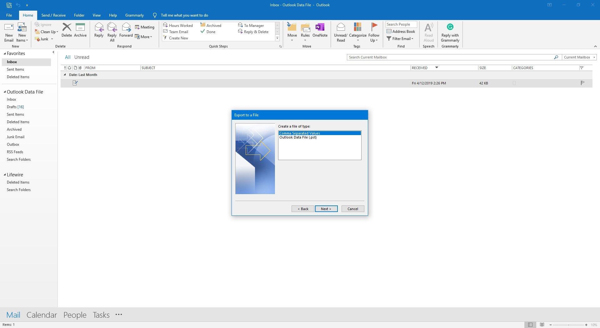 Screenshot of Create a file of type