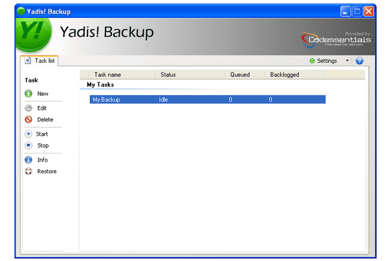 Screenshot of Yadis! Backup in Windows XP