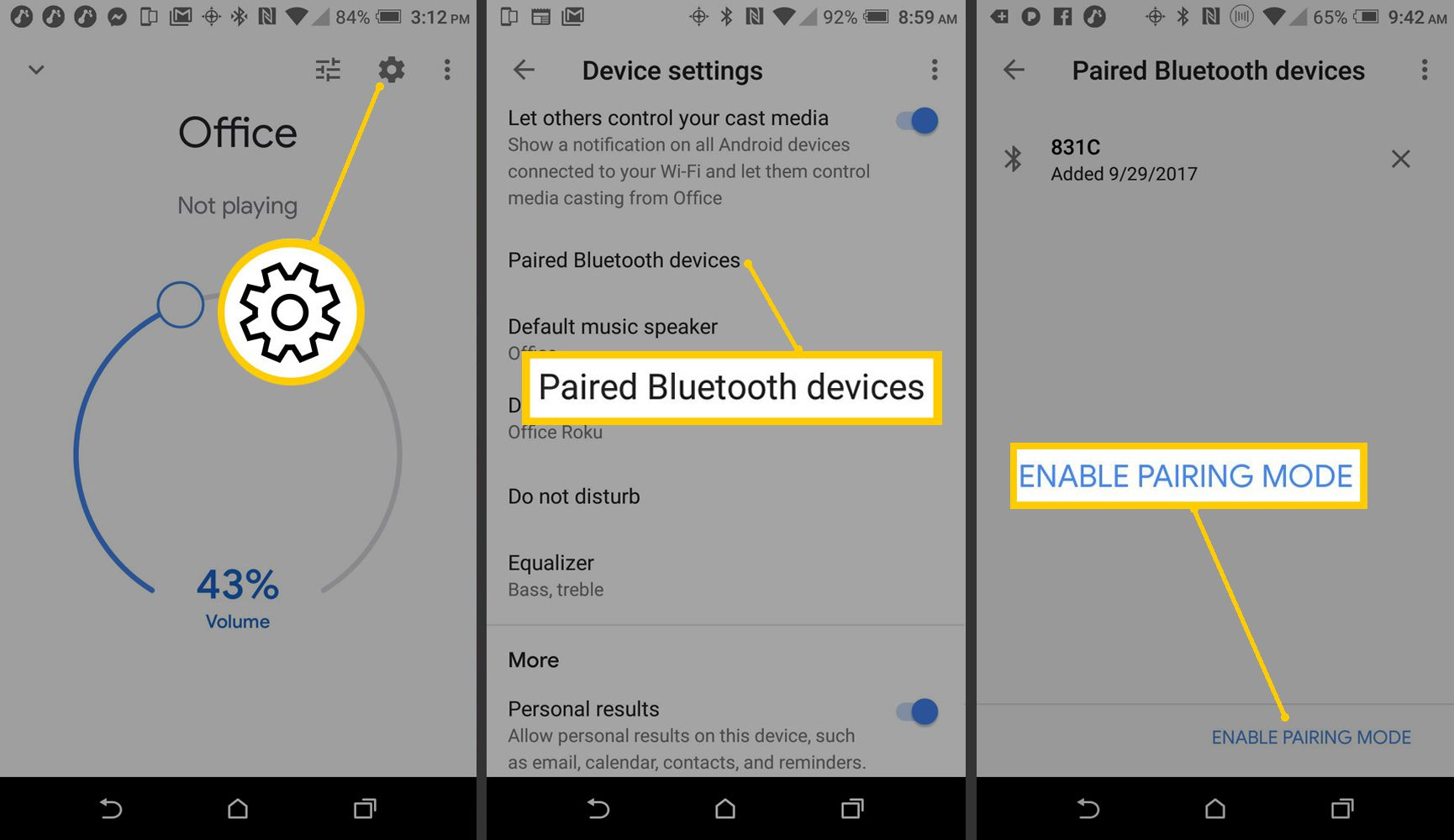 Screenshots of Android and Google Home App setting up Bluetooth pairing.