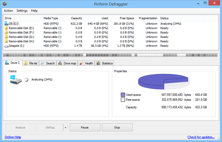 Defraggler v2.20.989 in Windows 8