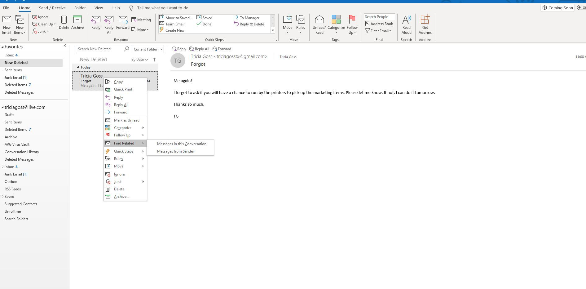 How to Find Related Messages With Outlook