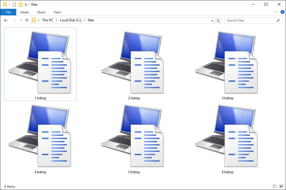 Screenshot of several HDMP files in Windows 10