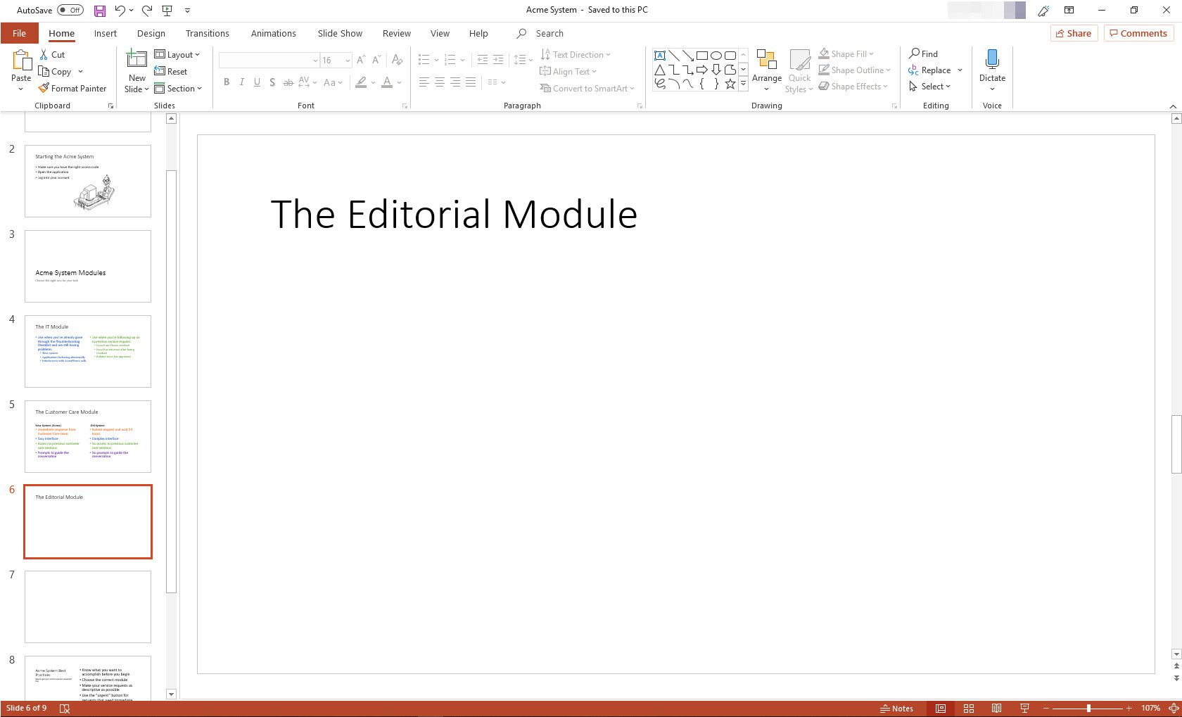 MS PowerPoint presentation with one slide selected