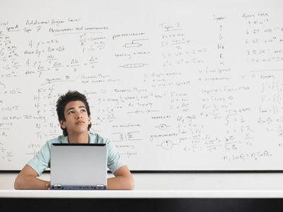 Math student using microsoft office