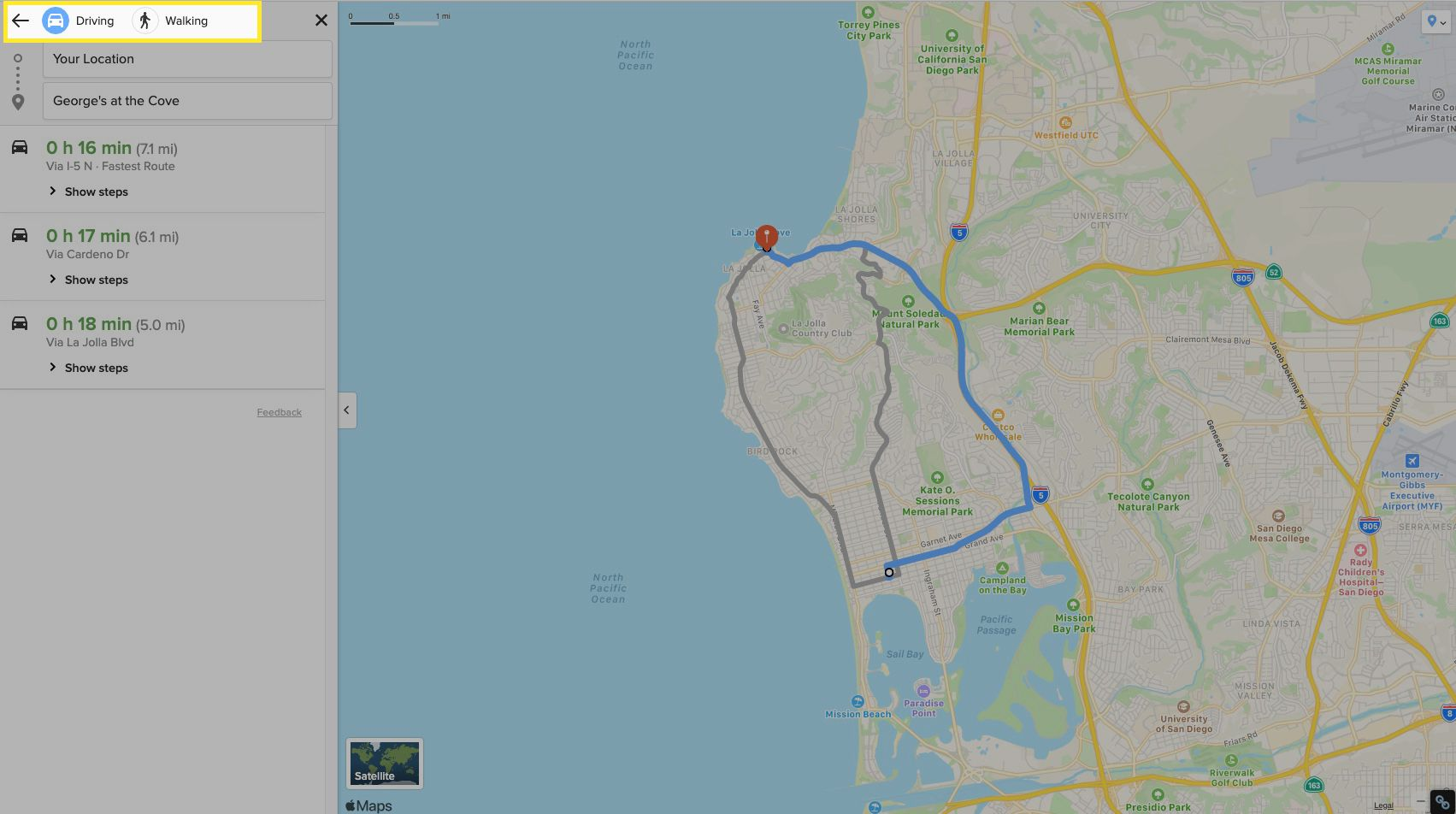 Select Driving or Walking to see your various routes.
