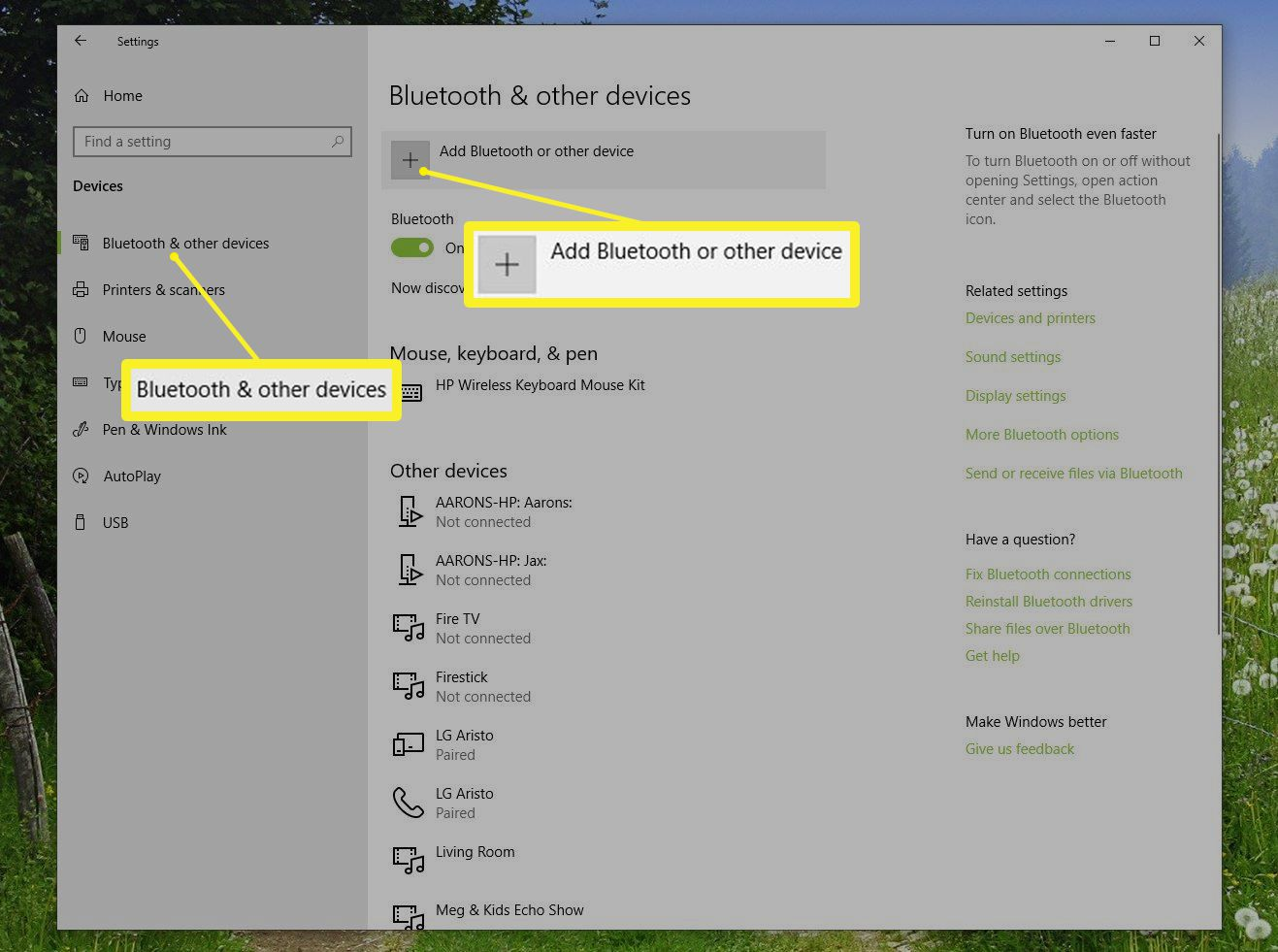 Bluetooth & other devices screen