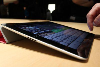 Person using iPad keyboard