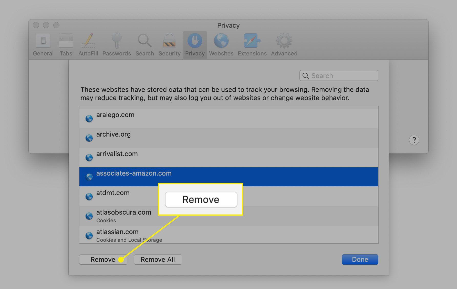 The Remove button for site cookies in Safari