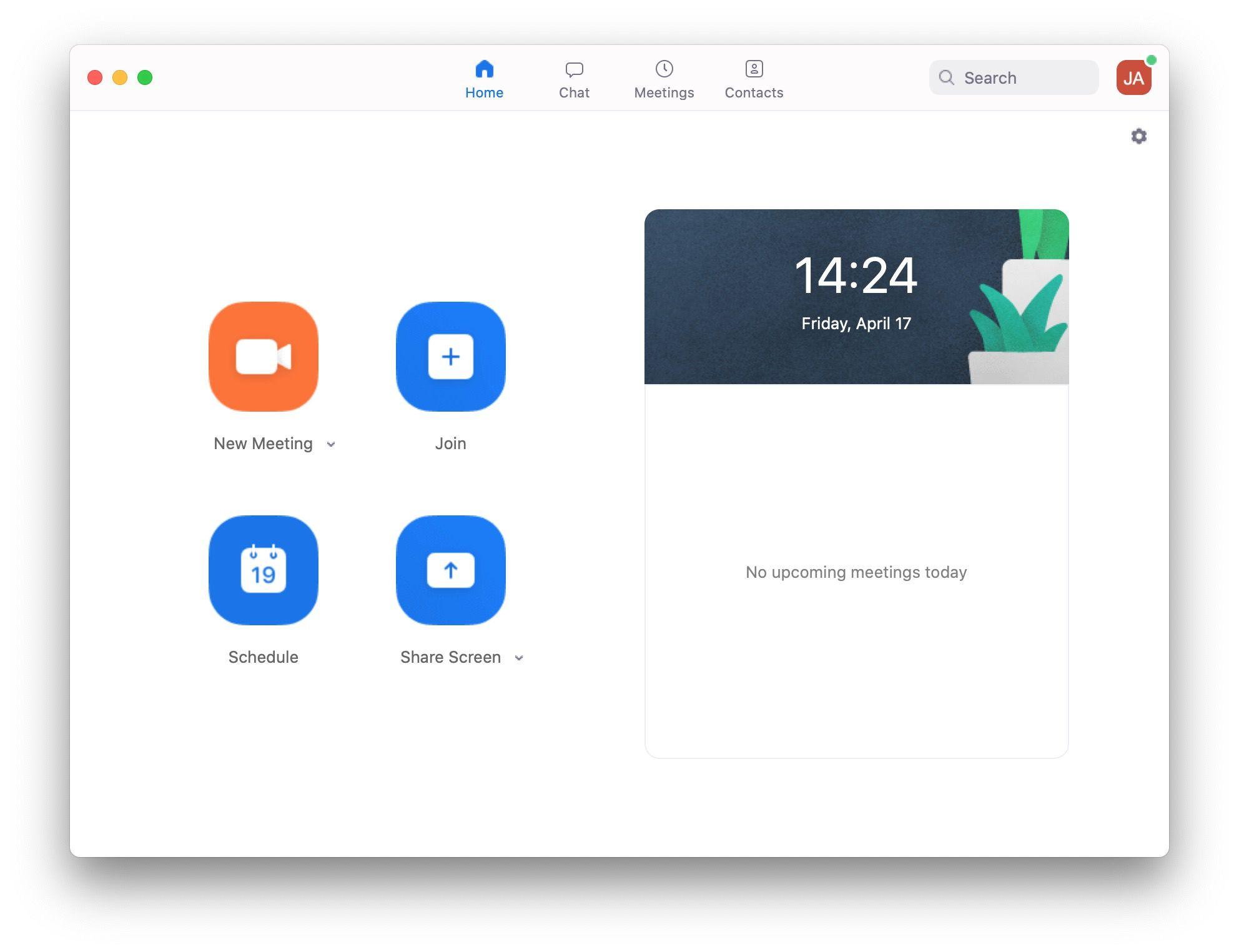 Zoom app on MacOS