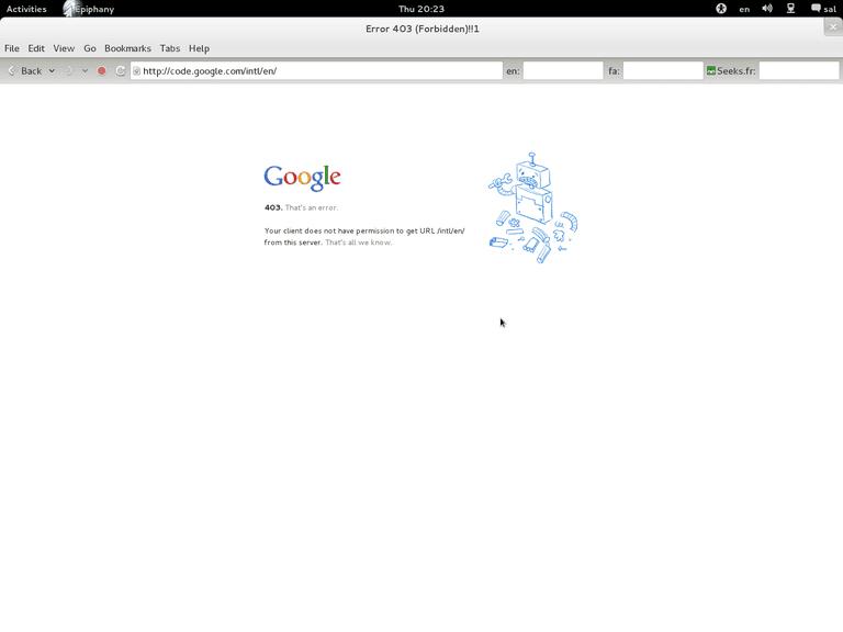 Google 403 error page