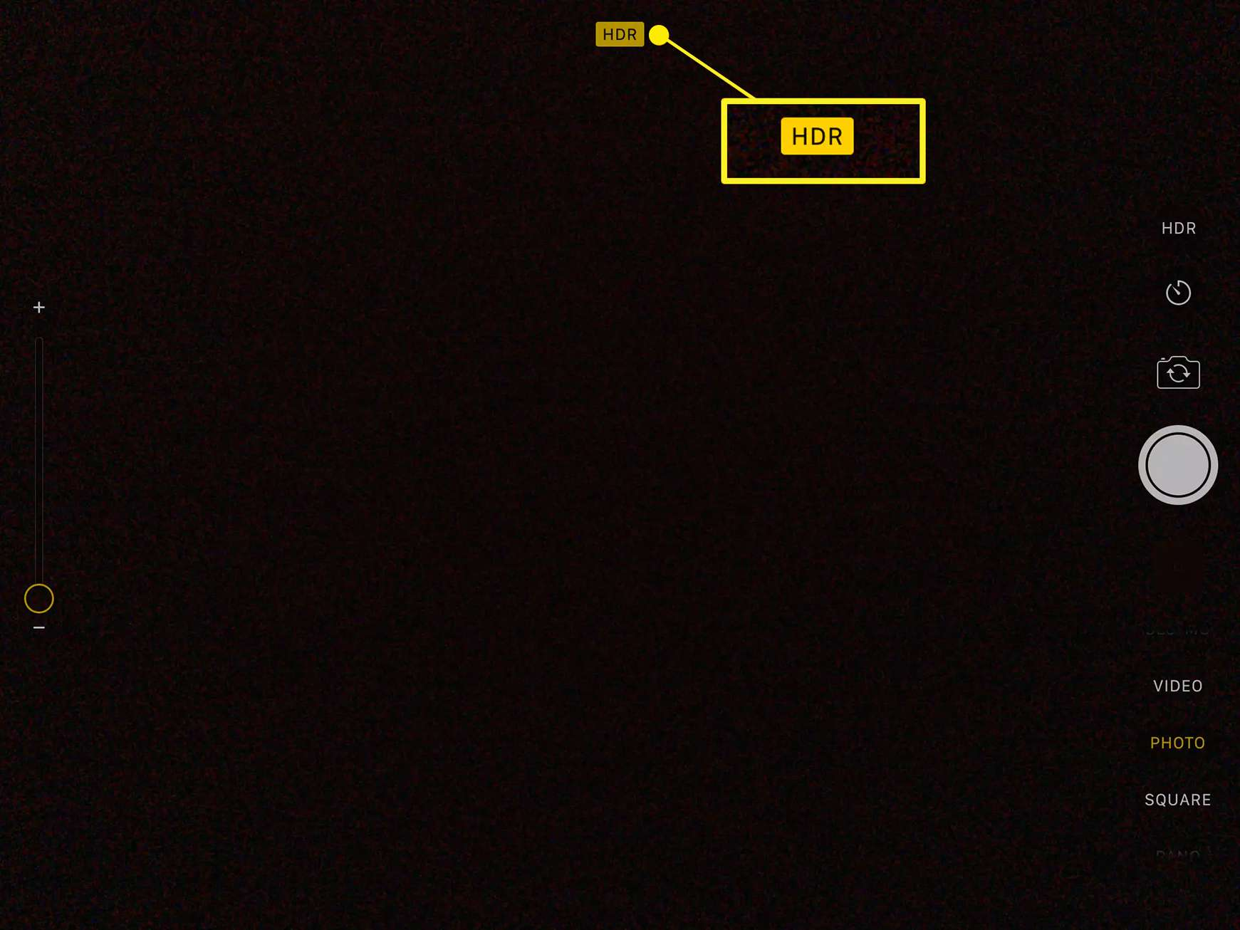 iPad Camera app showing HDR indicator