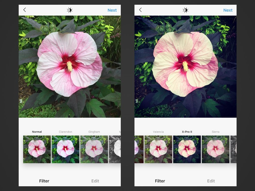 Two screenshots of Instagram for iOS.