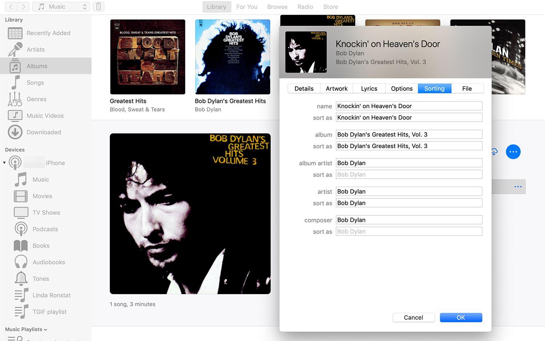 Sorting tab of metadata in iTunes