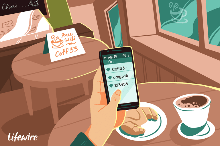 Illustration of a person connecting their Android device to a coffee shop Wi-Fi