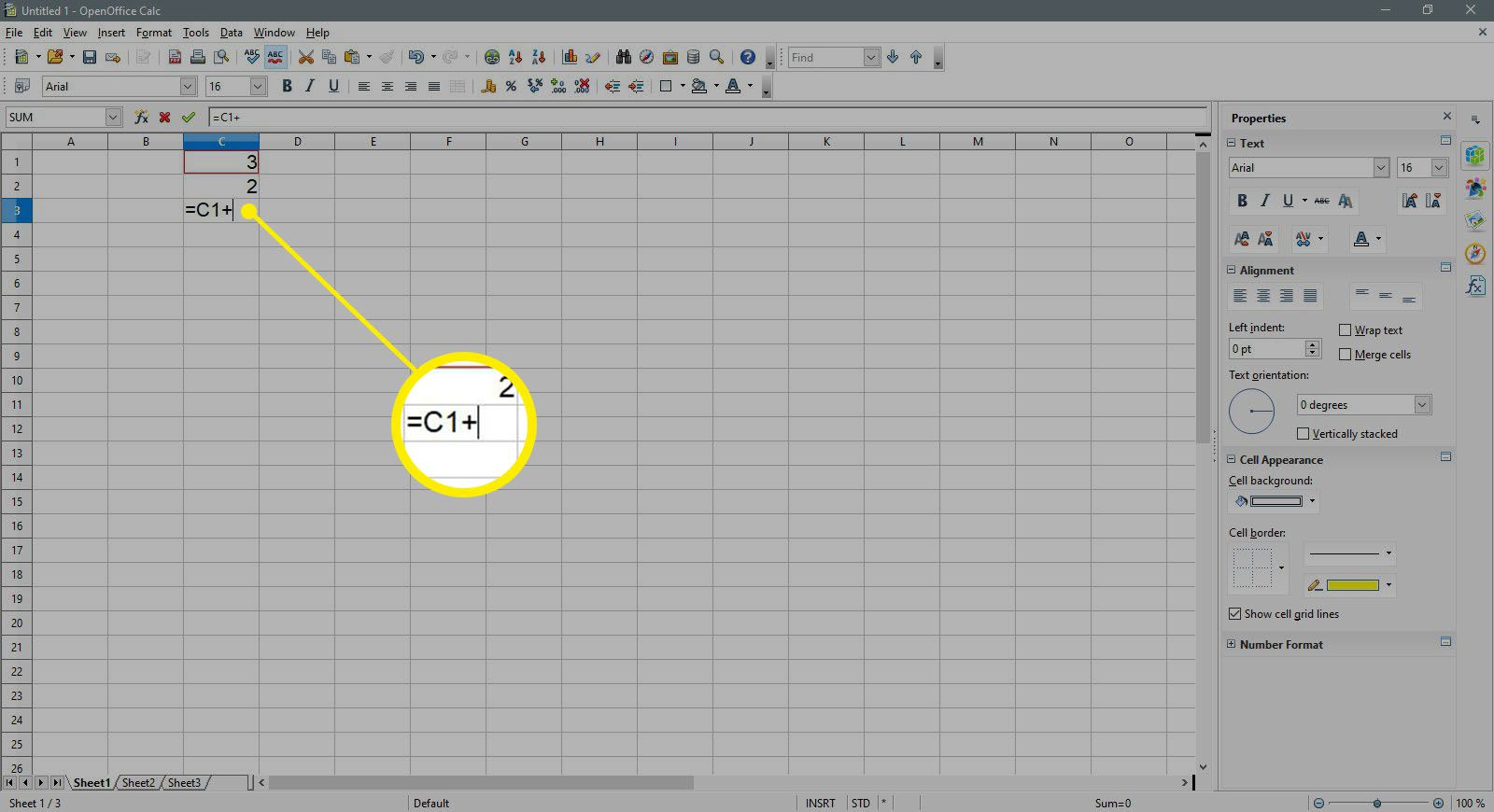 Enter a plus sign in a cell in OpenOffice Calc.