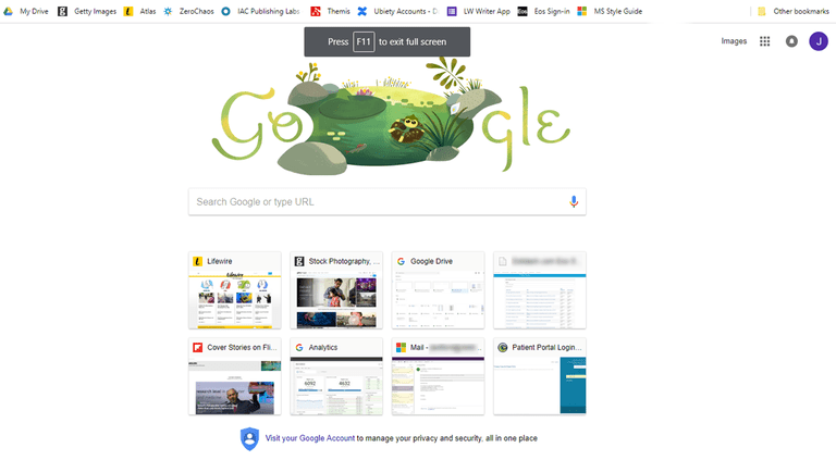 A screenshot of Full Screen Mode in the Chrome Browser showing the keyboard shortcut to end full screen mode.