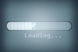 Loading bar with silhouette of man running