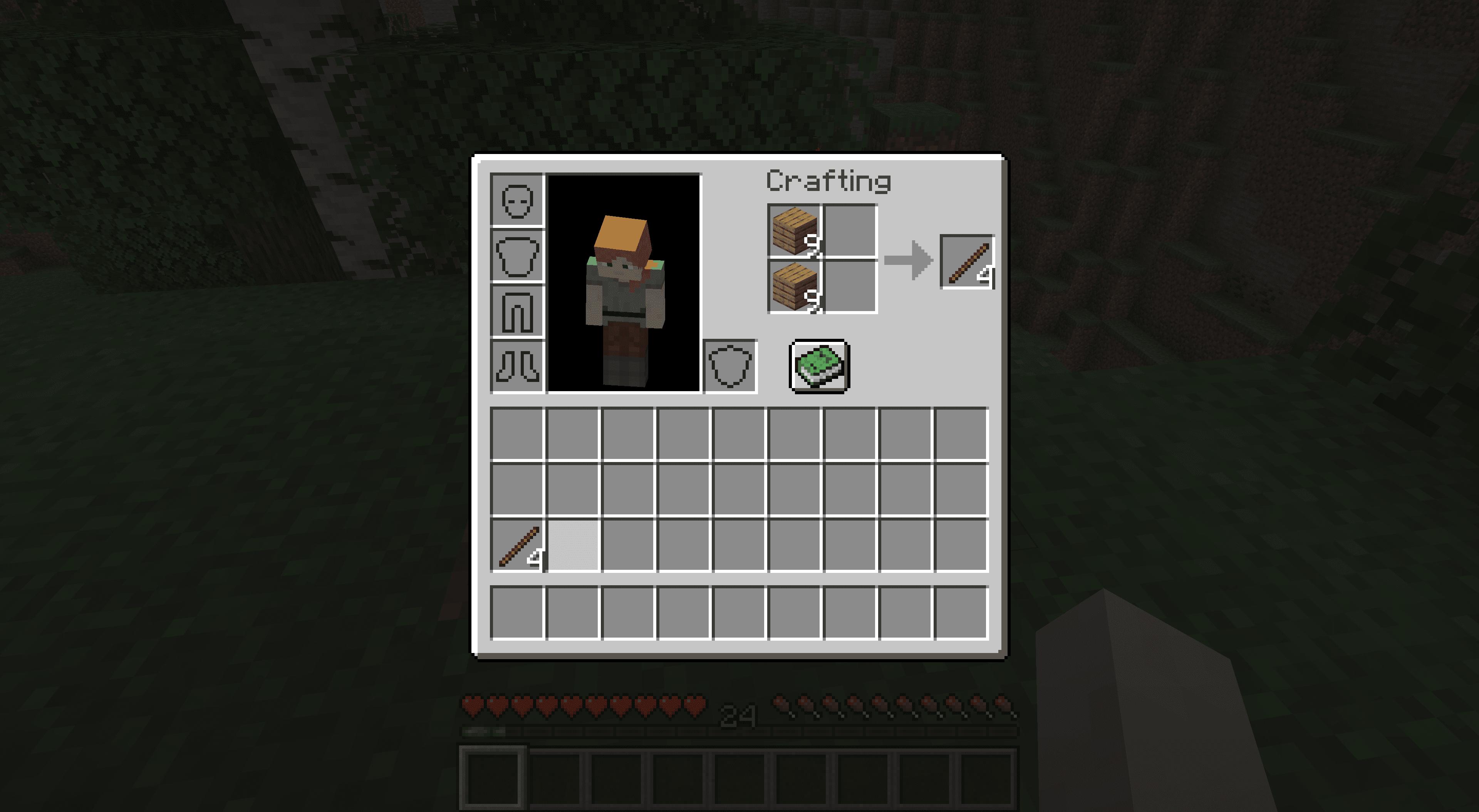 Making sticks in Minecraft.