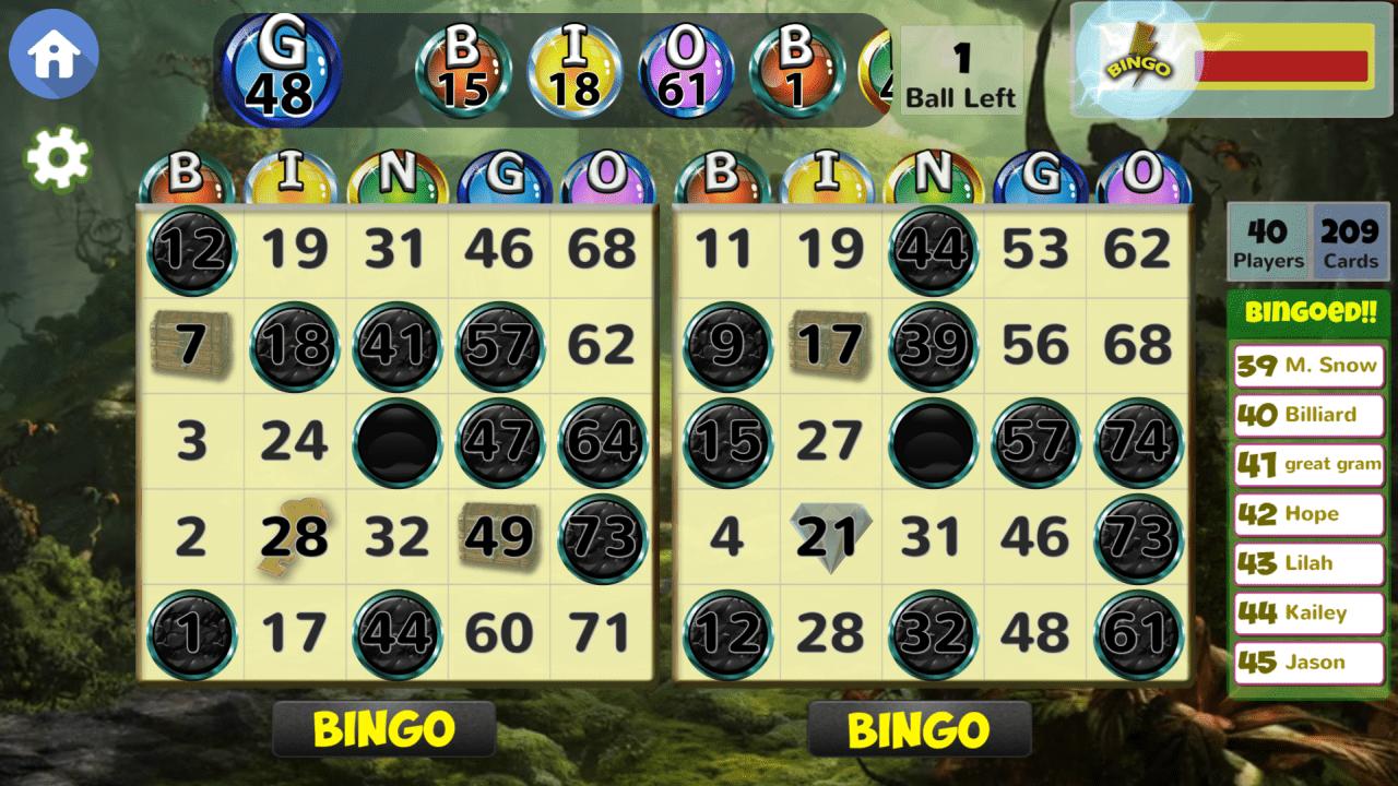 Screenshot of playing Blackout Bingo