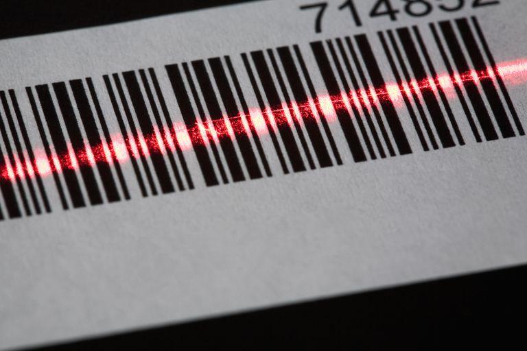 A laser reading a bar code