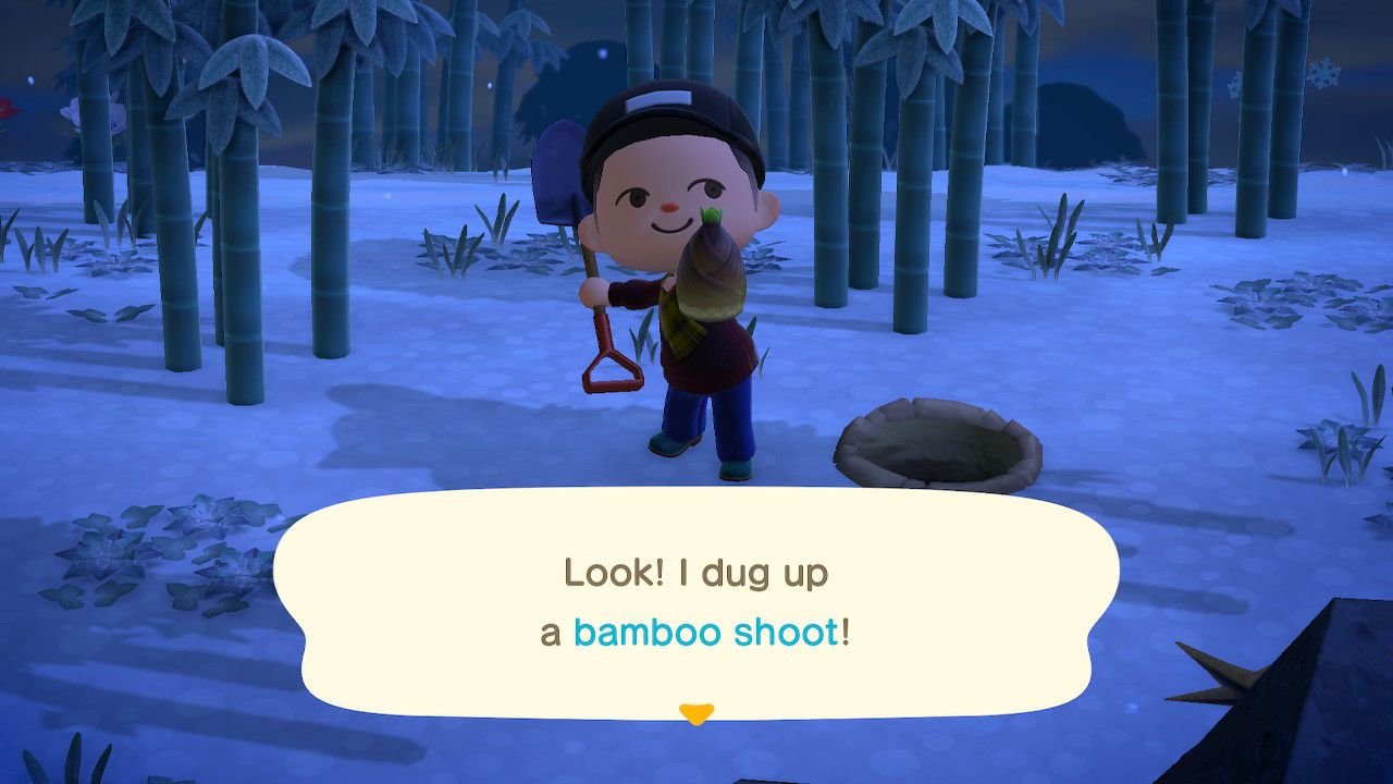 A player character digging up a bamboo shoot in Animal Crossing: New Horizons