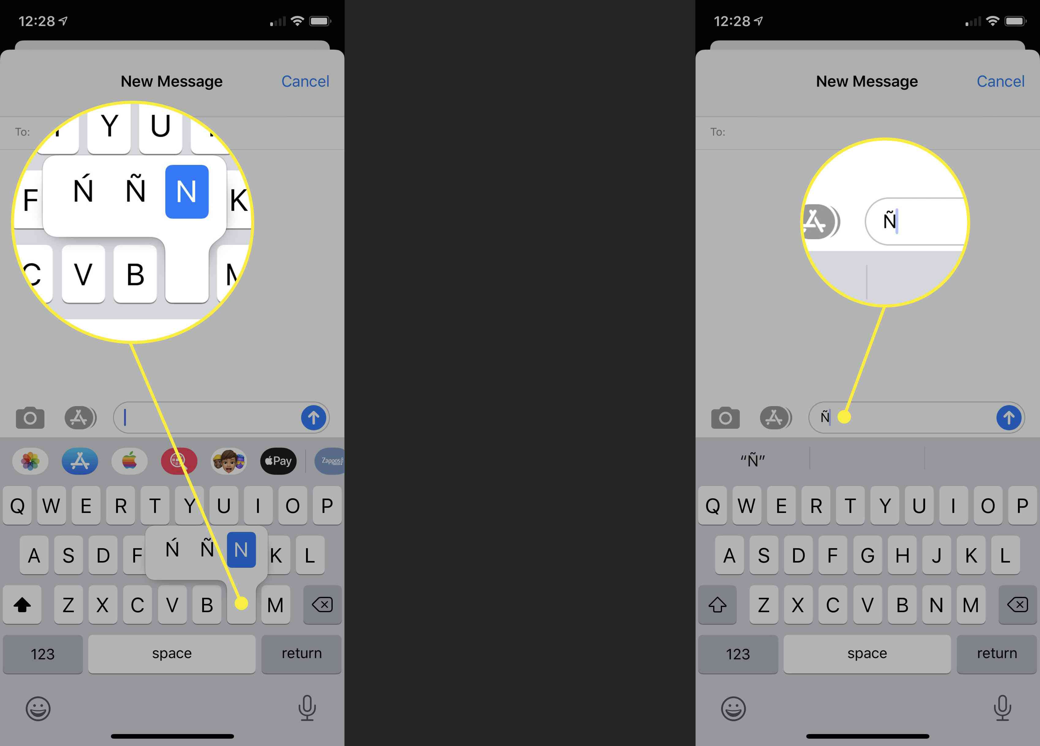 How to find a tilde on iOS keyboard.